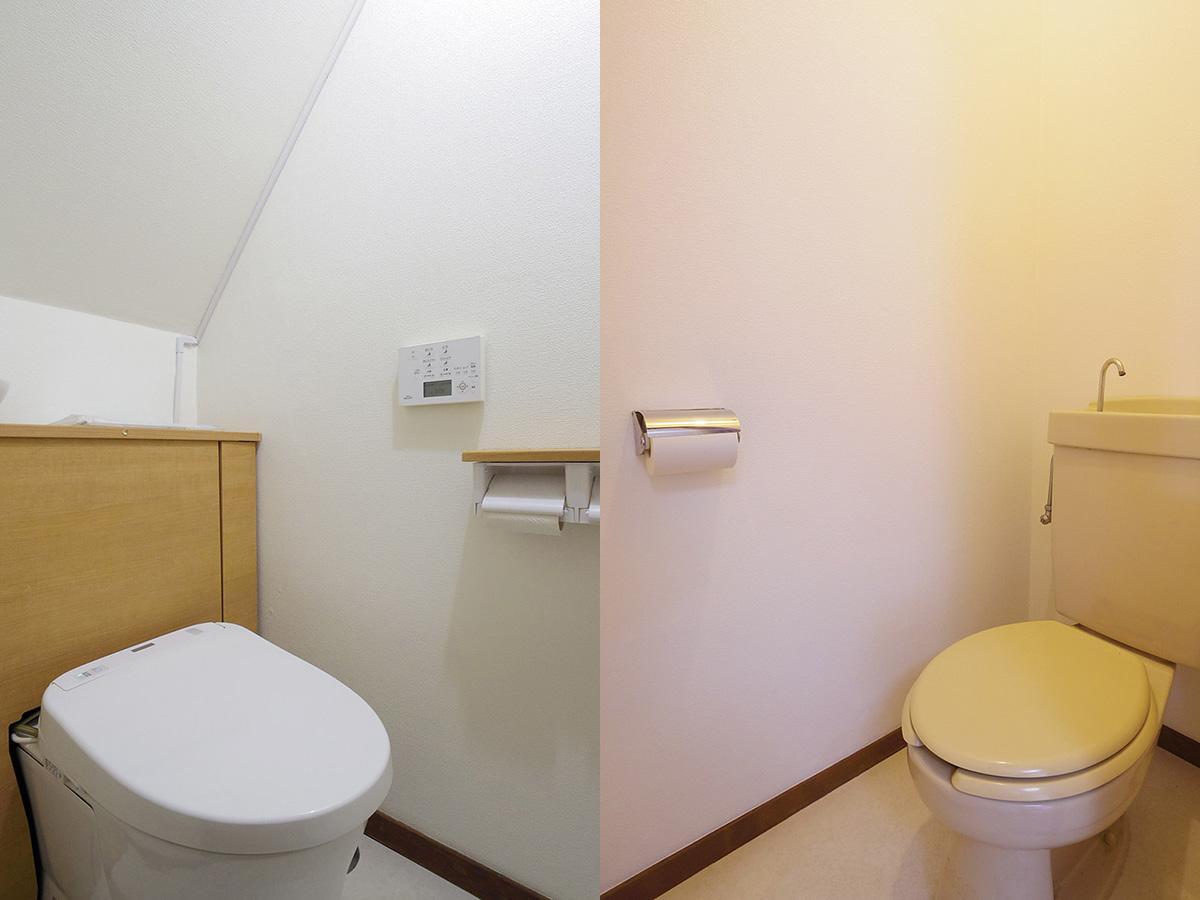 トイレ。左が1階(新品)、右が2階