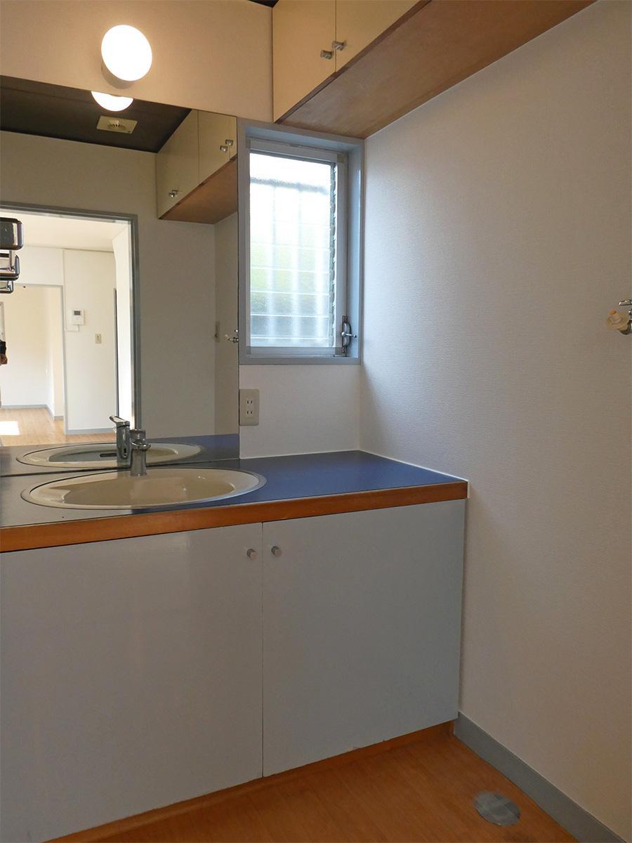 ブルーの洗面台。右側に洗濯機置き場