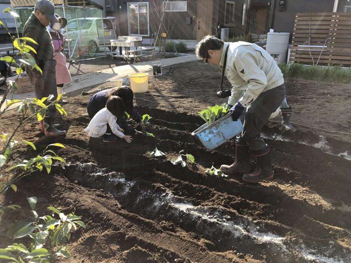 共用畑。地元の農家さんのサポートのもと、野菜の栽培にチャレンジできる