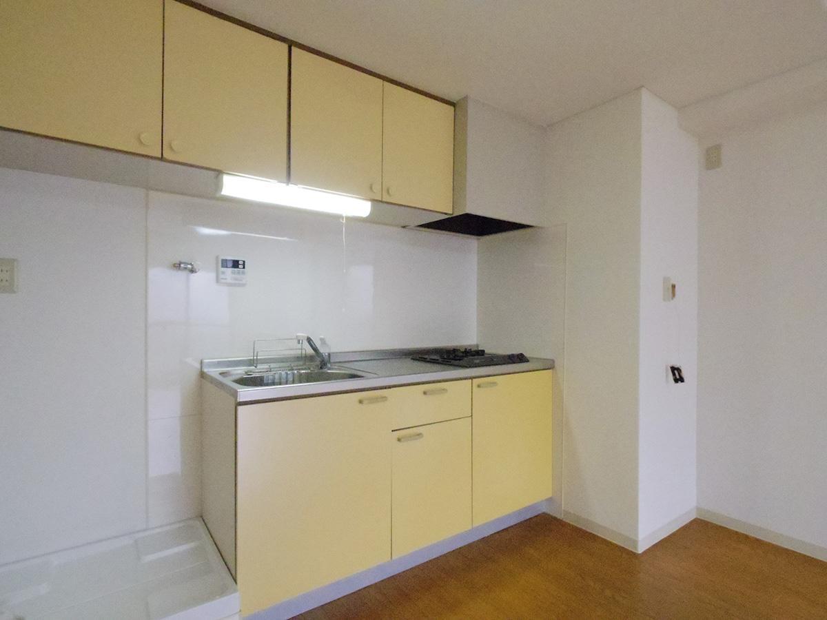 キッチンの左側に洗濯機置き場。右奥に冷蔵庫を置くスペースがある