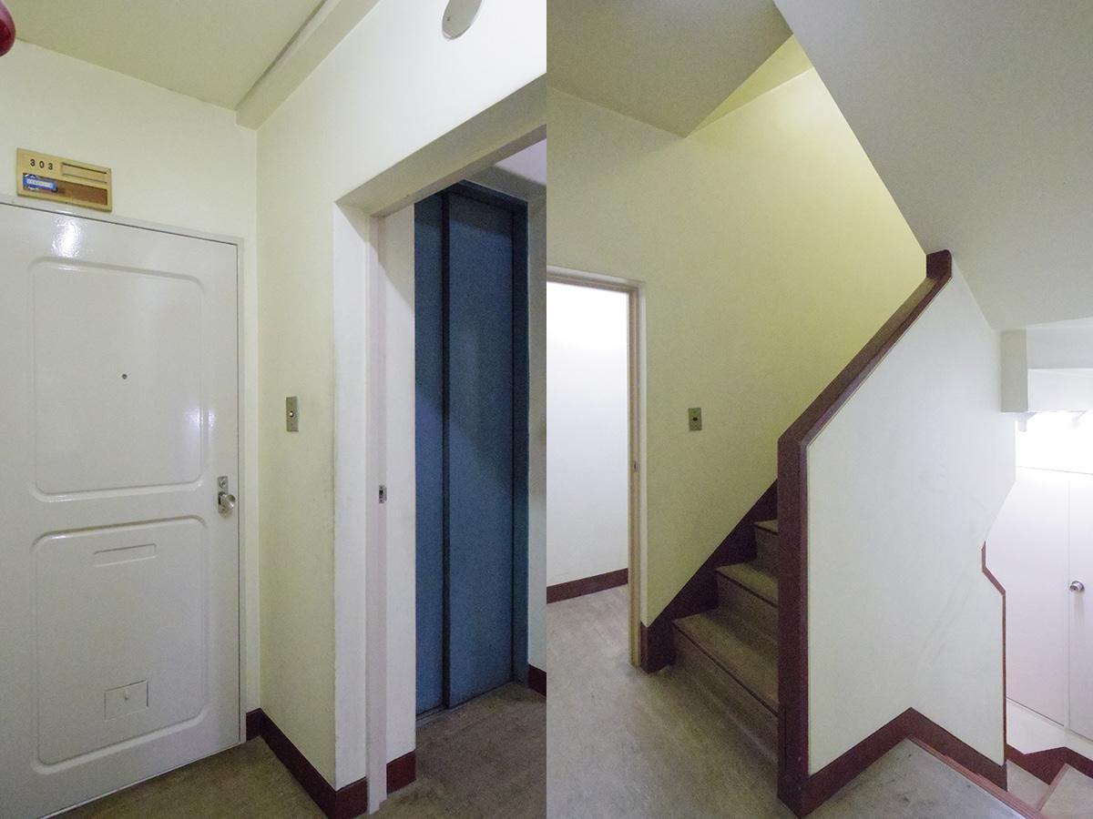 玄関と共有部。エレベーターもあります