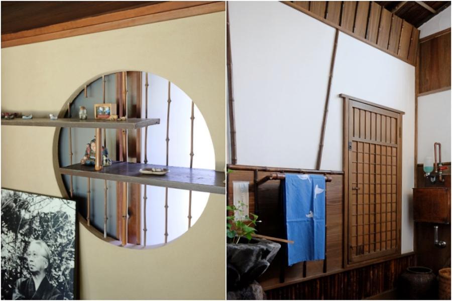 丸窓付きの違い棚/お手洗いのにじり戸