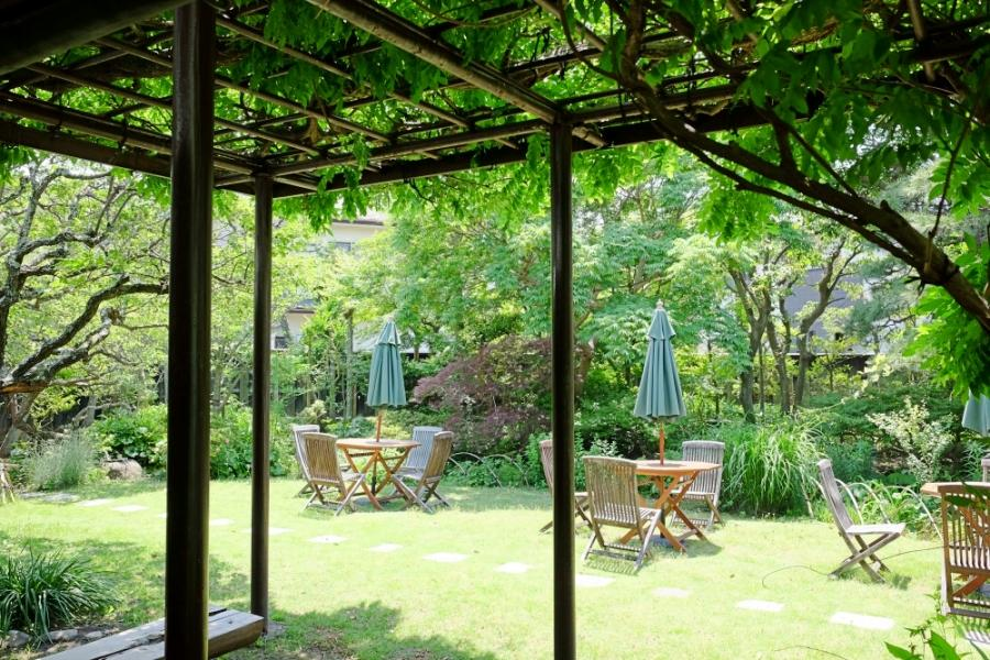 西の間から庭へ降りると、藤棚で涼が取れるようになっている