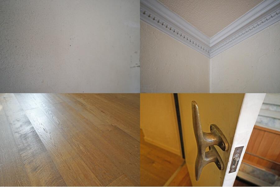 漆喰の壁、リビングダイニングのモールディング、無垢フローリング、個性的なドアノブ