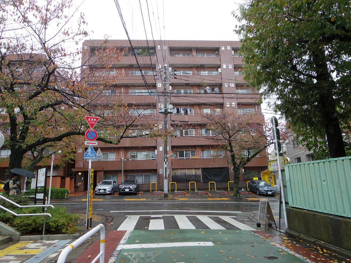 桜の名所、かむろ坂沿いに立つマンション
