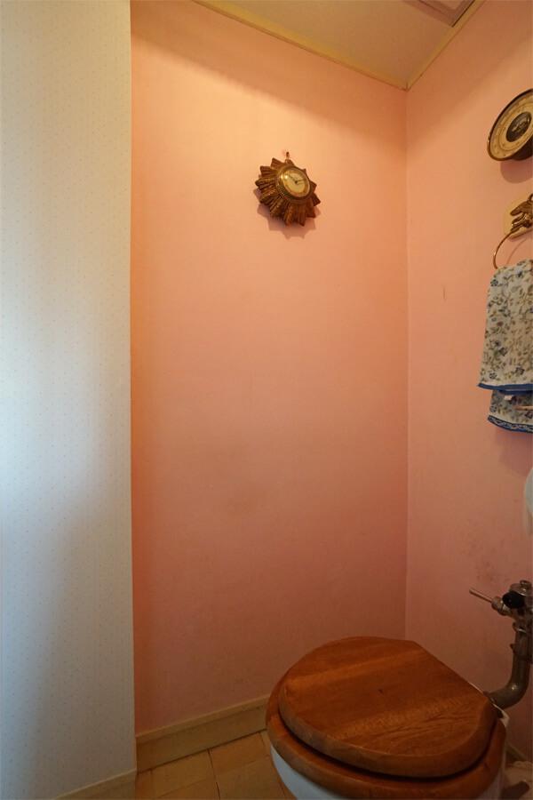 トイレの壁はピンク色の漆喰。小さな空間だからこそ、この色使い