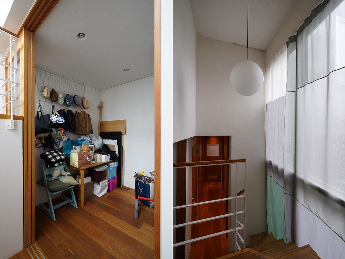 左:フリースペース/右:安東陽子さん作の軽やかなカーテン