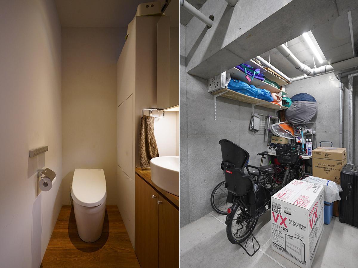 地下の専用スペースは駐輪場に使っても、キャンプグッズなどの置き場としてもよし