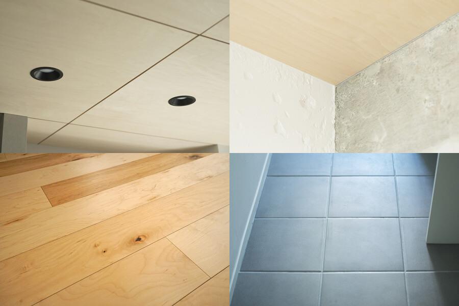 床も天井も質感の良い木。洗面の床は落ち着いた色合いのタイルです