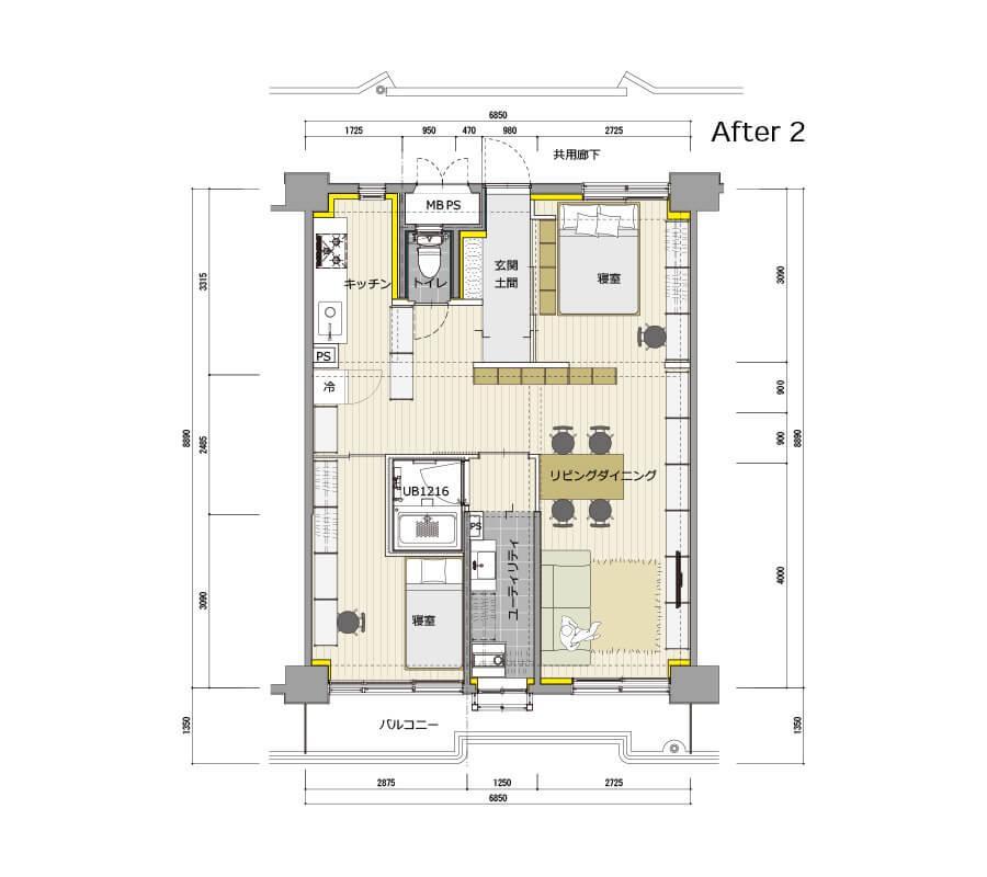 図面のように、キッチンと寝室の間に仕切りをつくるなど生活に合わせた改装が可能です
