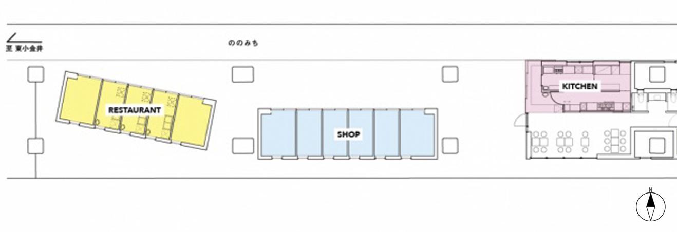 黄色がレストラン区画、青色はショップ区画。赤色の区画の下がカフェスペース