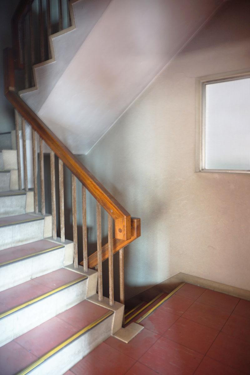 電気をつけないとちょっとドキッとするけど、渋くてかっこいい階段
