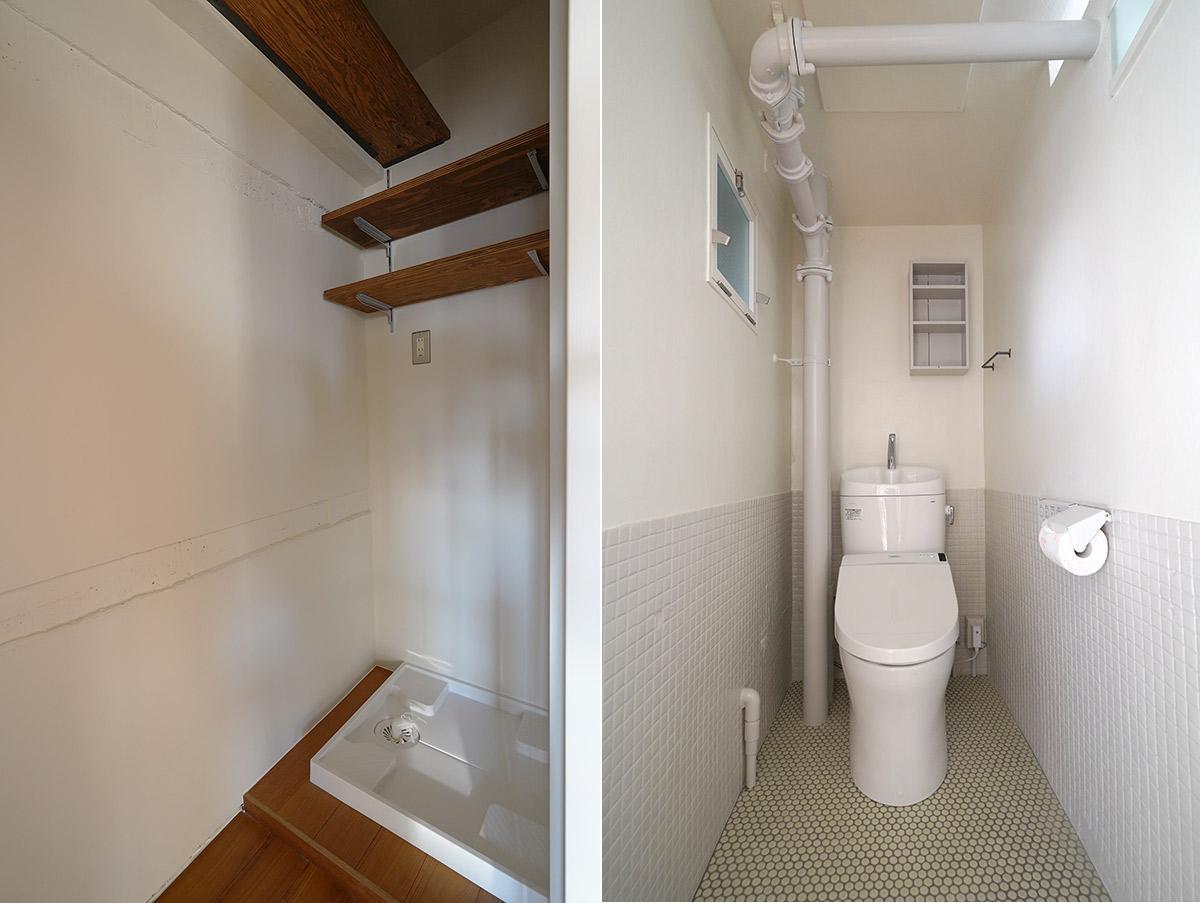 トイレの配管は身長170cmを超えると頭をぶつけるのでかがむ必要あり