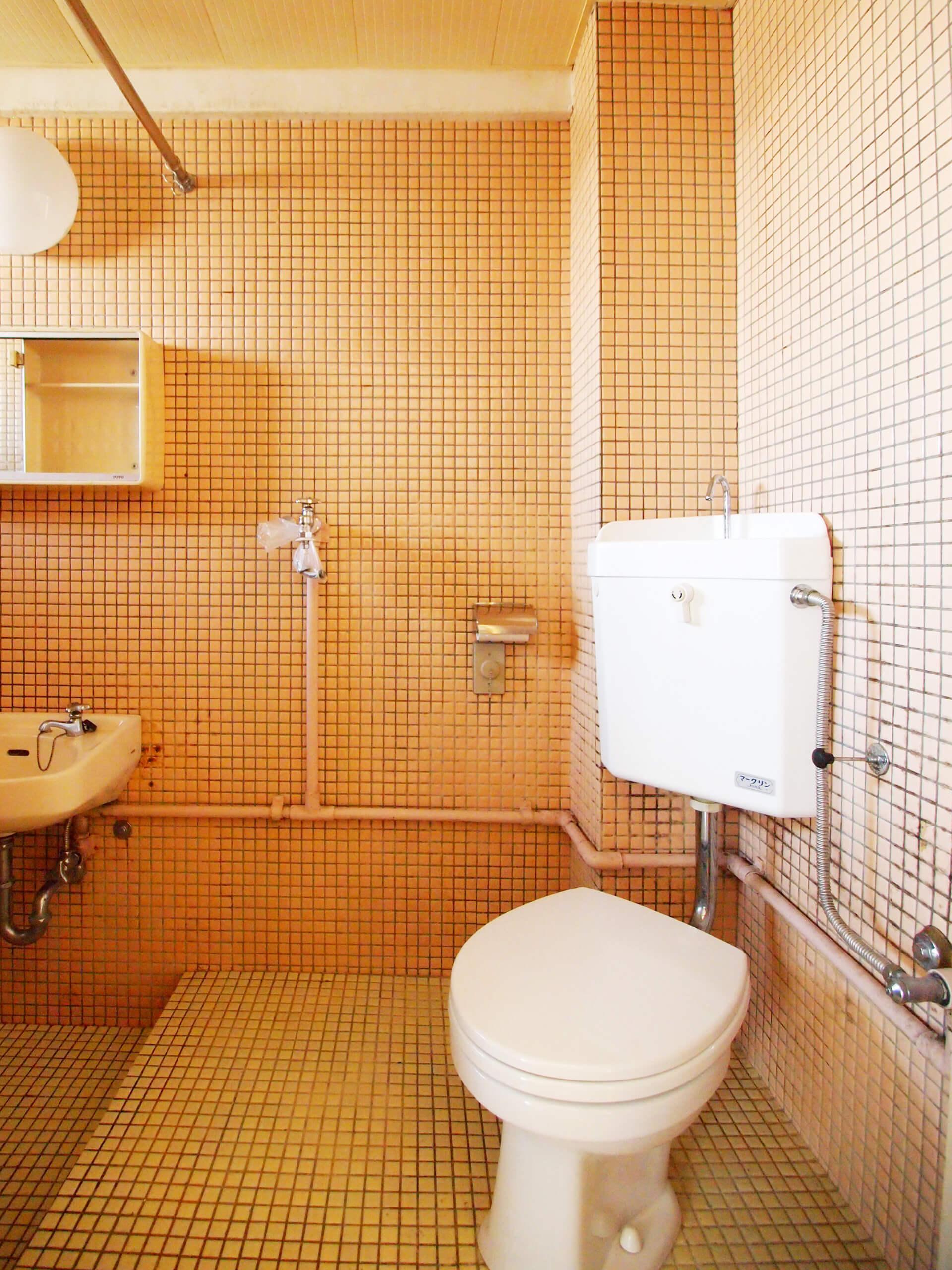 トイレ。トイレの脇に洗濯機を置くかたち