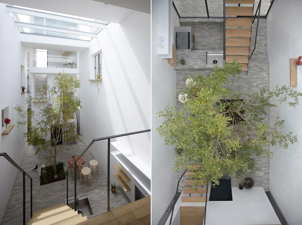 左:寝室から見下ろす風景(写真は竣工時に撮影)