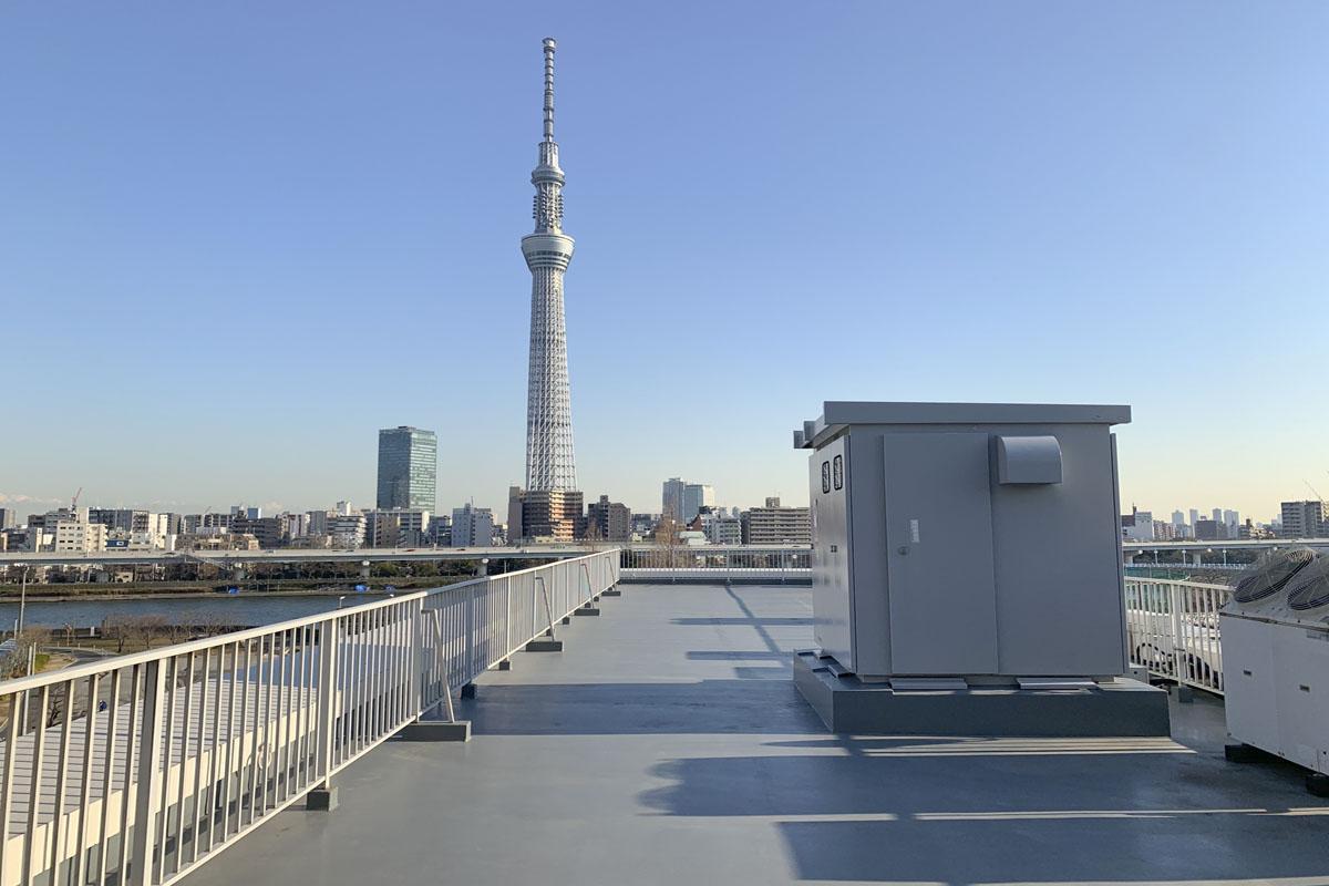 こちらが、ハンパない屋上。奥には隅田川とスカイツリー