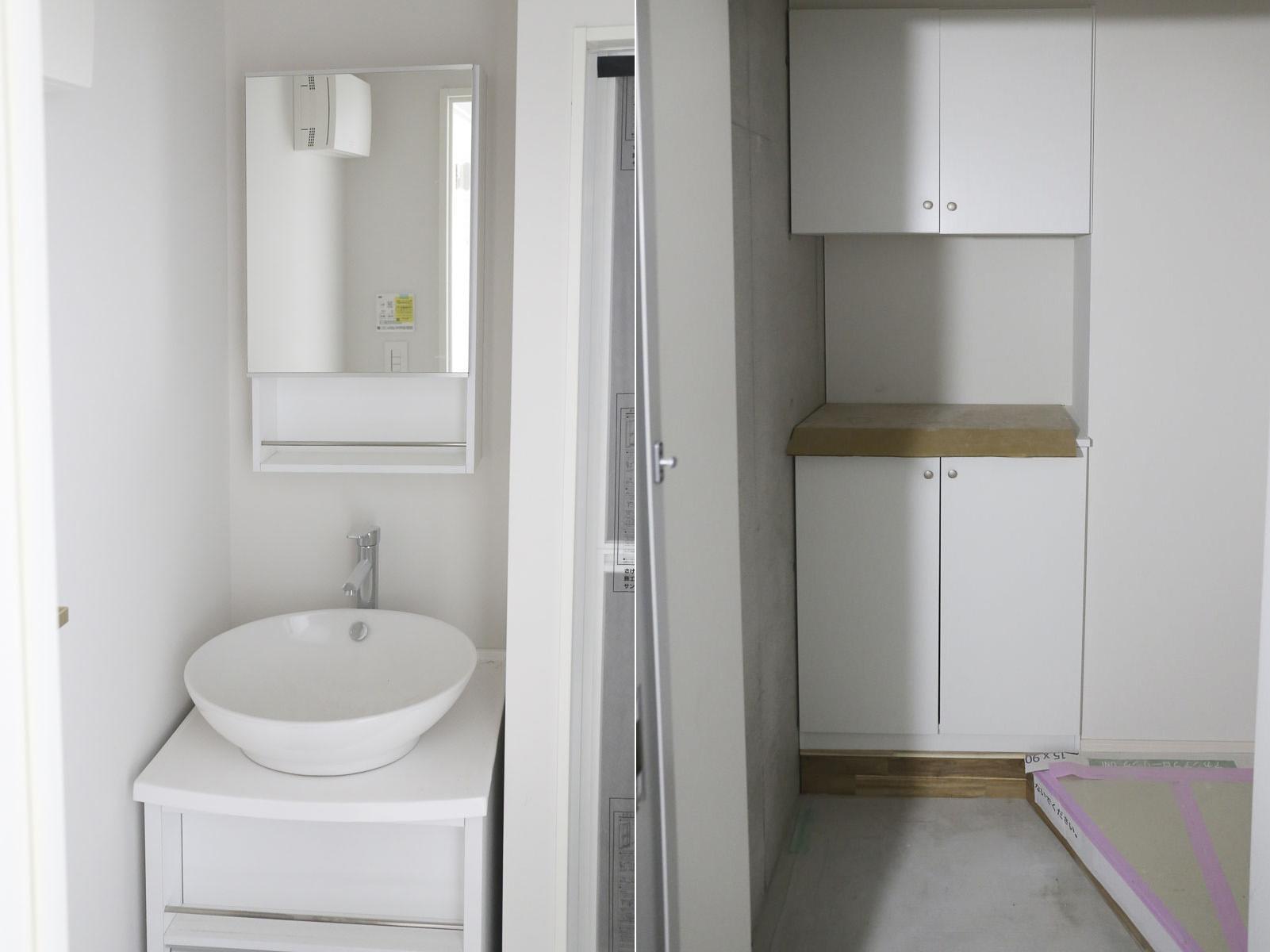 Dタイプの洗面台と玄関スペース