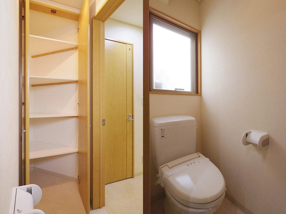 1階トイレ。デッドスペースになりそうなコーナーは一面収納に