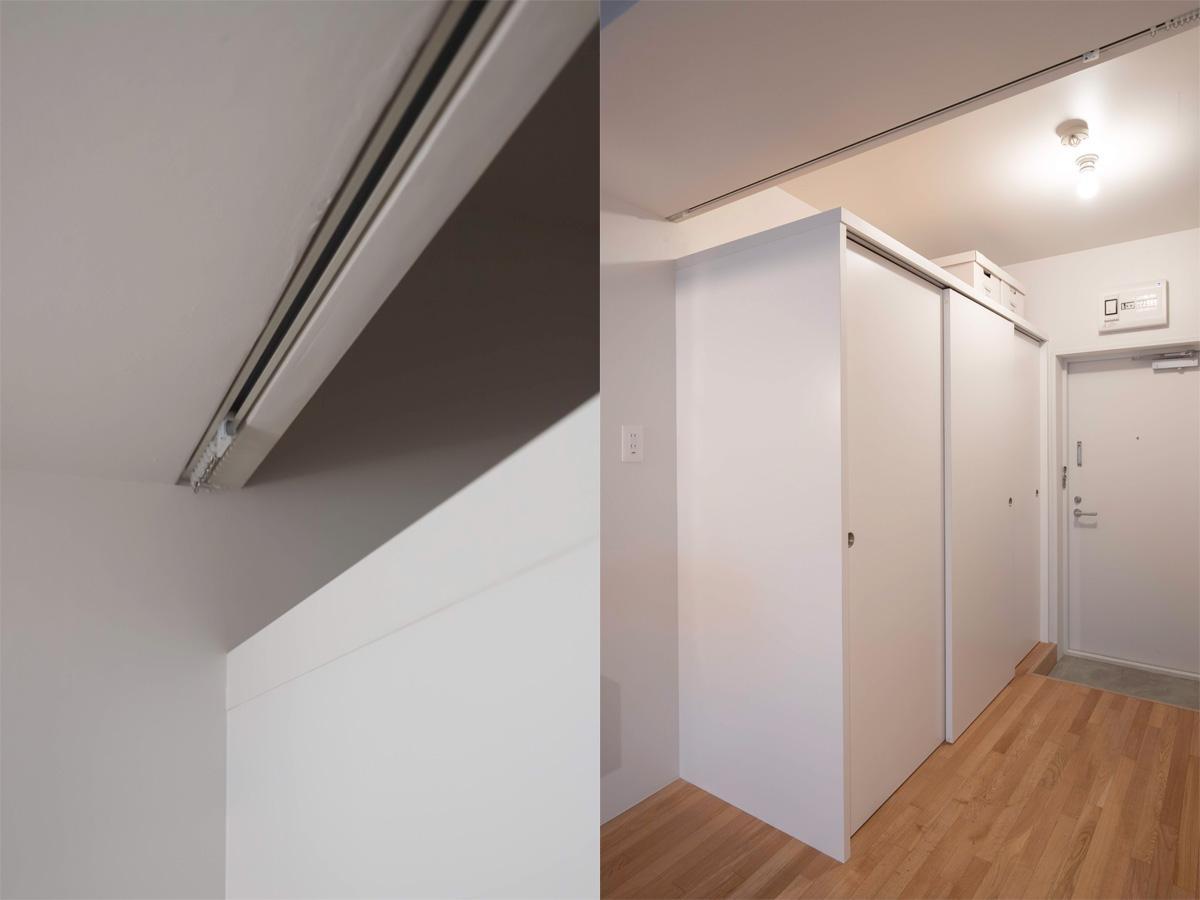 玄関横収納の上部にはカーテンレールを設置しているので脱衣所として仕切ることが可能(7階)