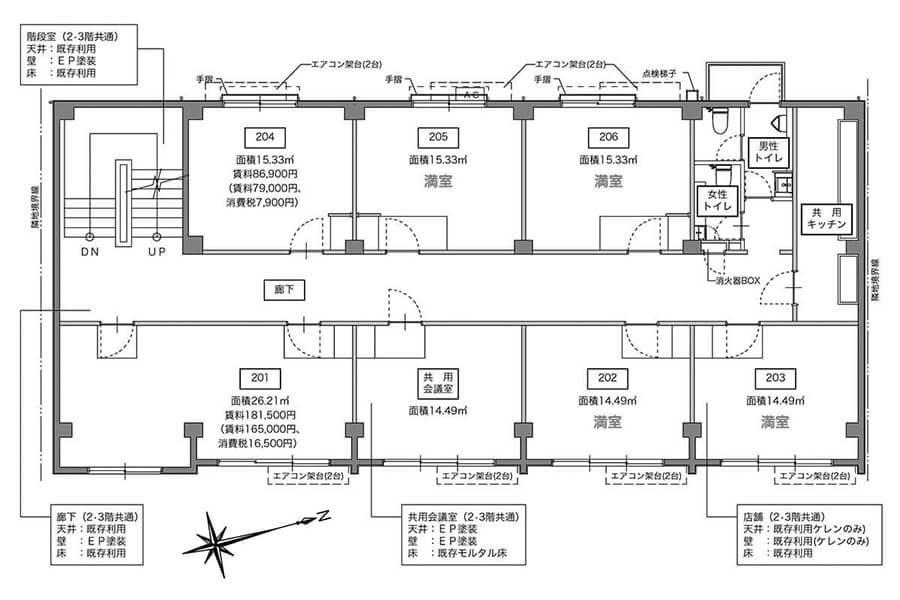 2階平面図。左上の階段の目の前の、一番目につきやすい区画