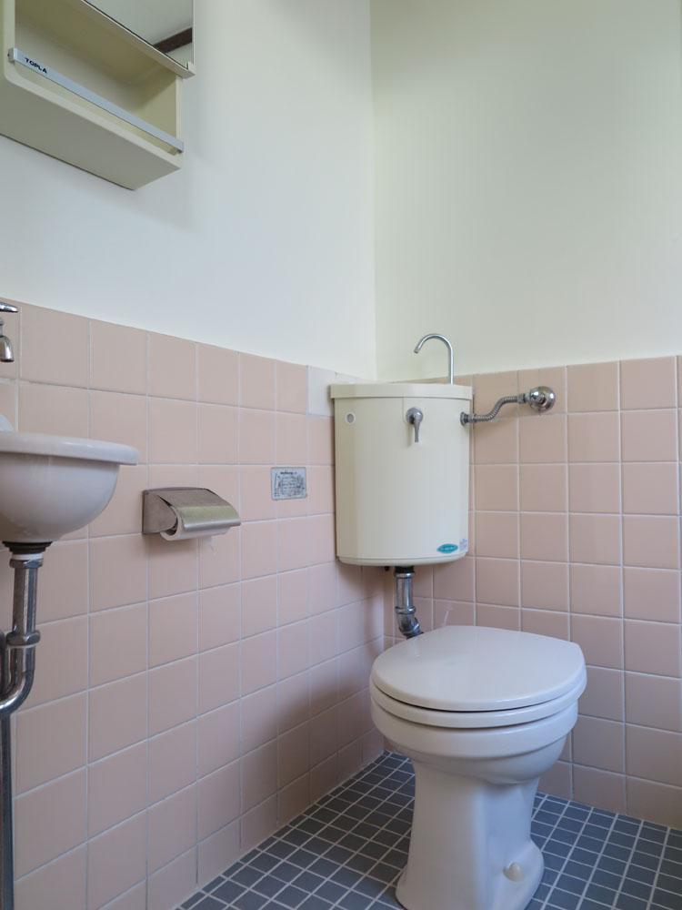 トイレとお風呂は同室です。小さな洗面もついている