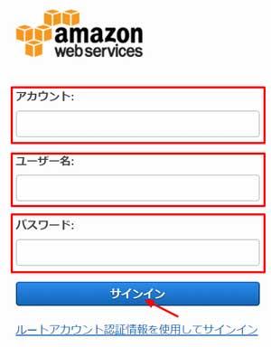 IAMユーザログイン画面