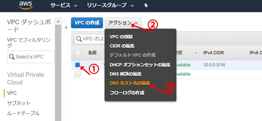 「DNSホスト名の編集」をクリック