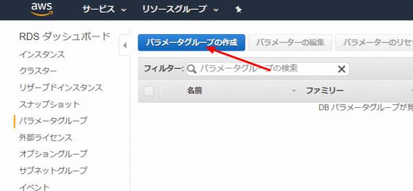 「パラメータグループの作成」ボタンをクリック