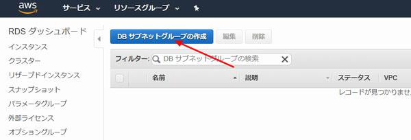 「DBサブネットグループの作成」ボタンをクリック