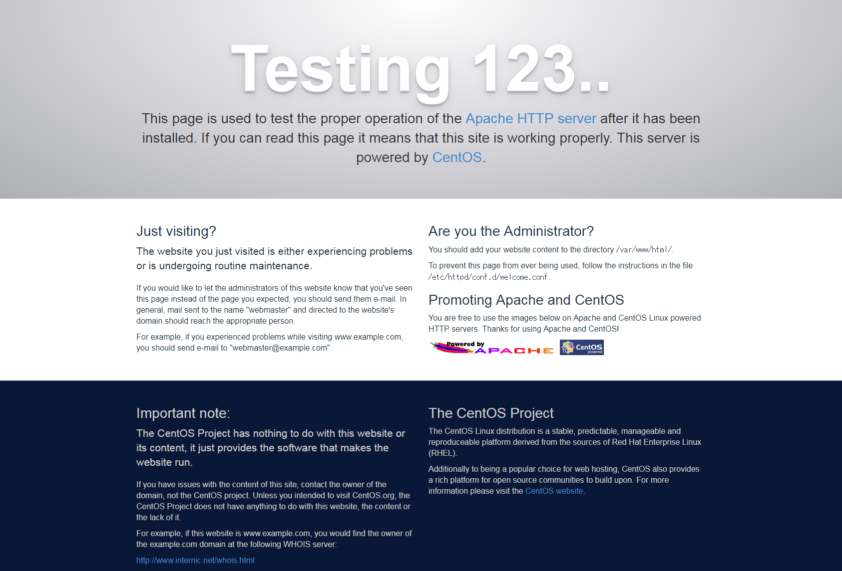 Aoache 2.4 デフォルトコンテンツページ