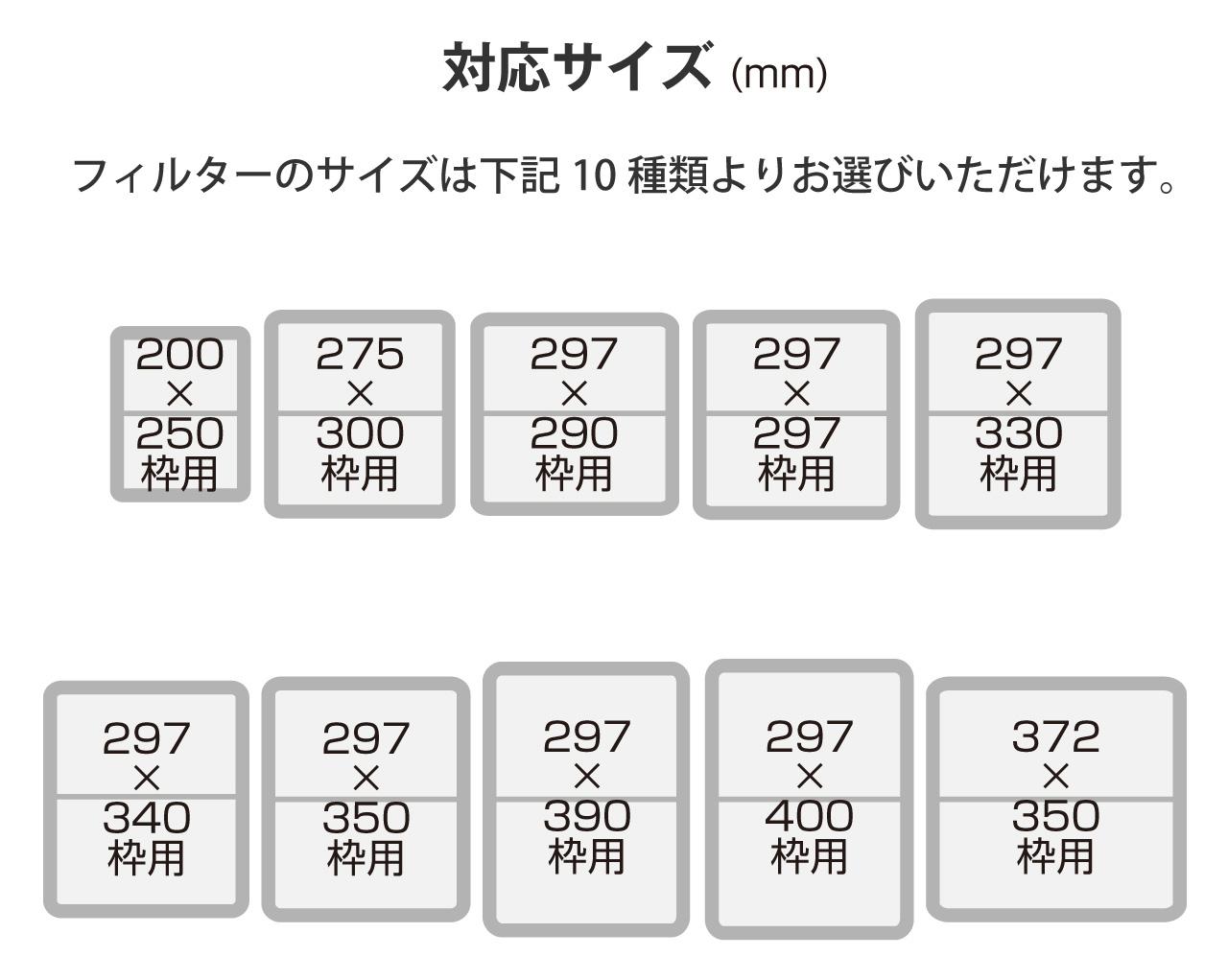 スターフィルター・サイズ表