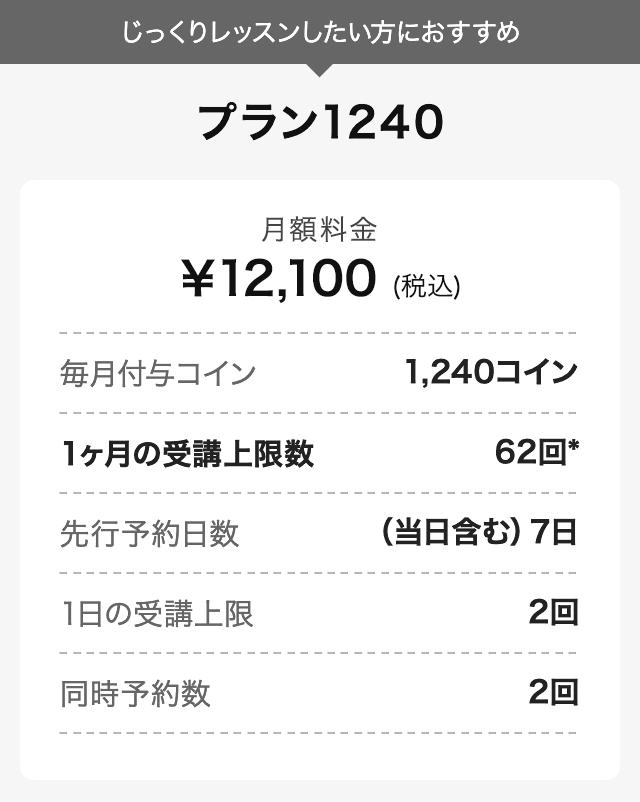 プラン1240 月額¥12,100(税込み)