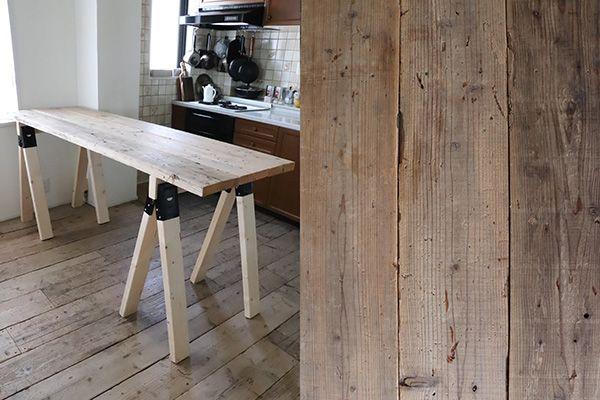 M RESIDENCE/個人宅 (エム レジデンス)床、作業台共に足場板の再生材使用