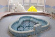 HOMEIKAN 森川別館/旅館 (ホウメイカン):タイルのお風呂(千鳥風呂)