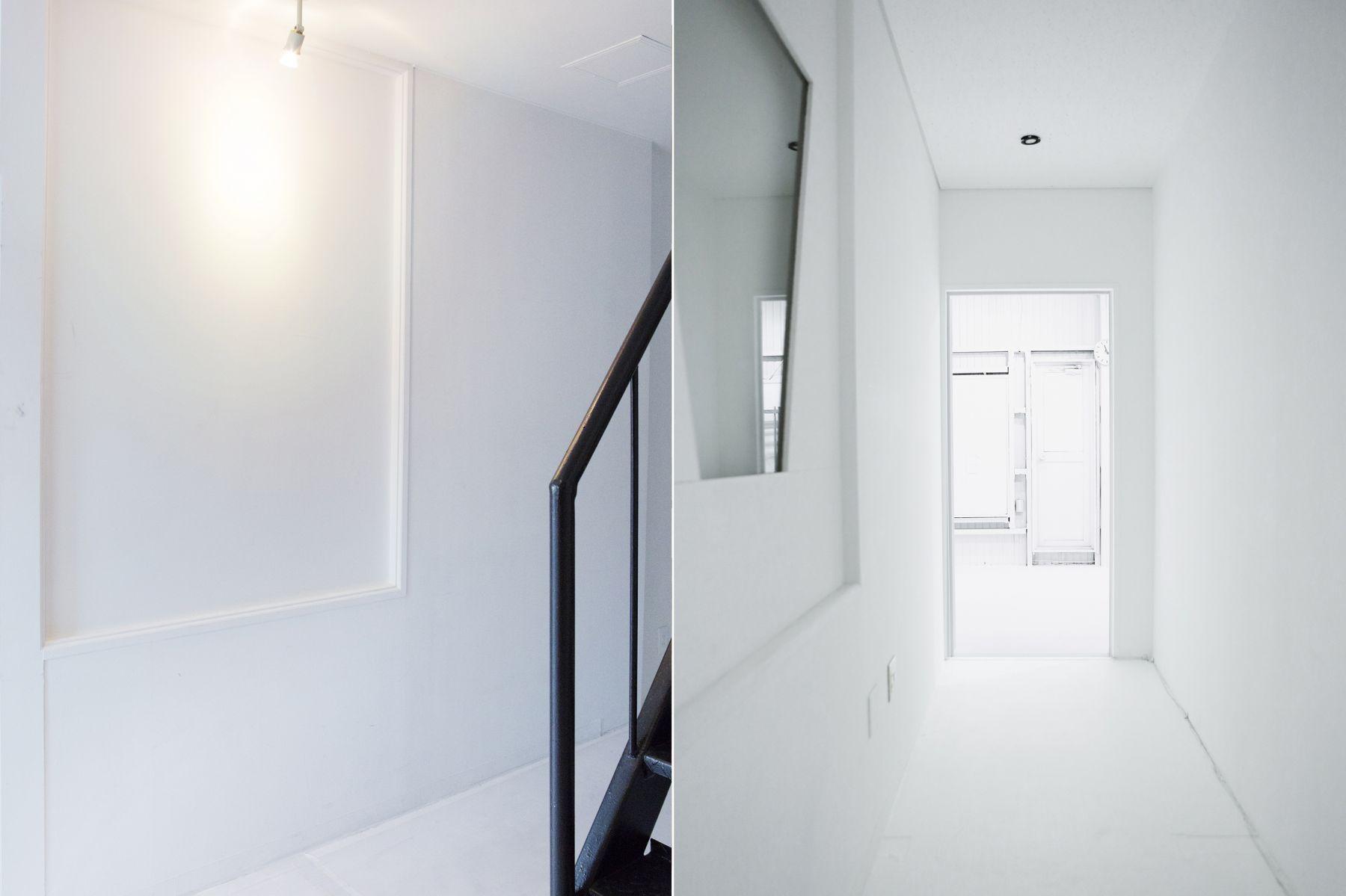 studio ConTRail (スタジオ コントレイル)廊下も白壁で統一