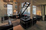 芝浦ADEスタジオ:コンクリート壁のリビング