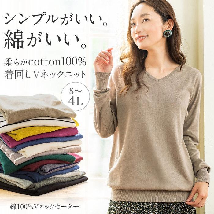綿100%Vネックセーター