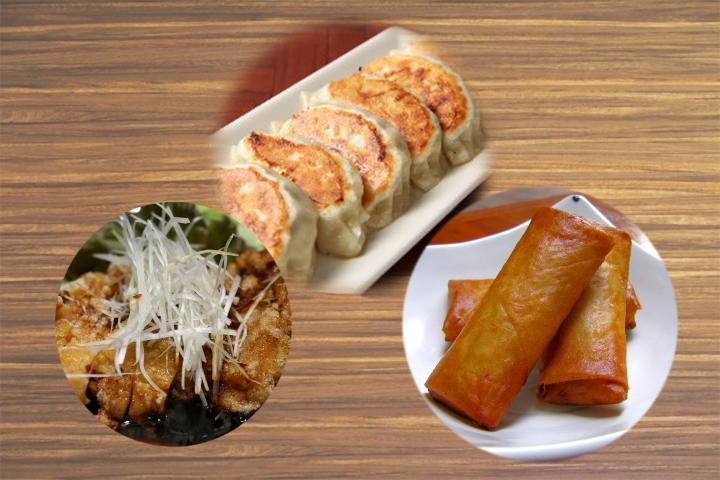 油淋鶏、春巻(2本)、餃子(2個)弁当