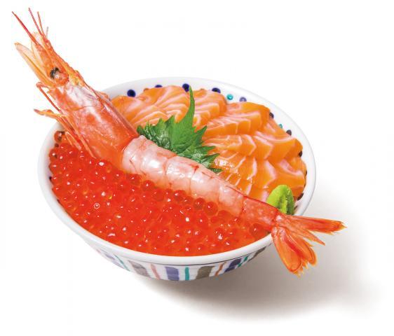 いくら・サーモン・赤海老丼