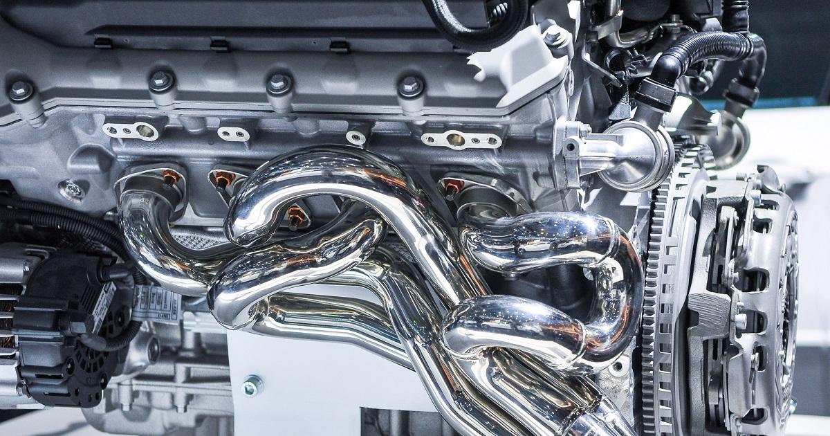 the new shiny car engine on exhibition