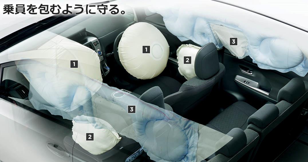 運転席・助手席エアバッグ、運転席・助手席サイドエアバッグ、前後席カーテンシールドエアバッグ