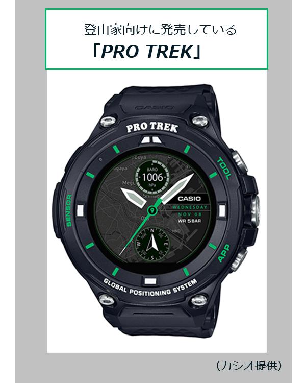 登山家向けに発売している「PRO TREK」(カシオ提供)