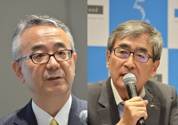 塩野義製薬の手代木社長(左)とエーザイの内藤社長(6月1日の記者会見で)