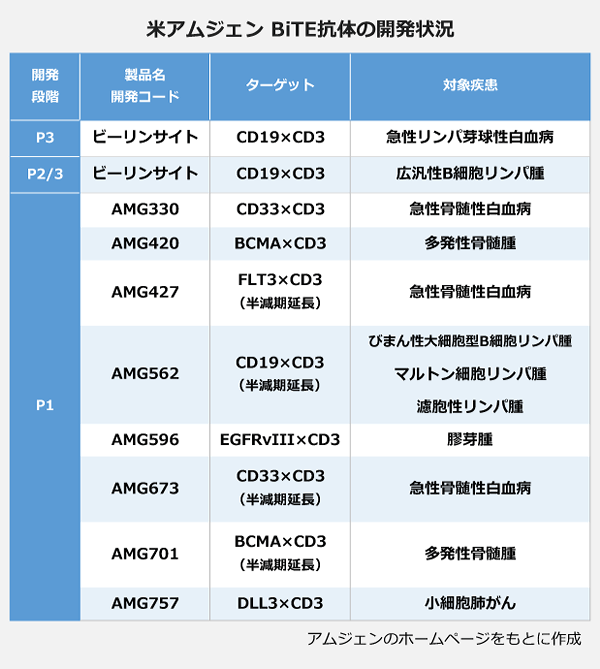 米アムジェン BiTE抗体の開発状況の表。【P3】<ビーリンサイト>ターゲット:CD19×CD3、対象疾患:急性リンパ芽球性白血病。【P2/3】<ビーリンサイト>ターゲット:CD19×CD3、対象疾患:広汎性B細胞リンパ腫。【P1】<AMG330>ターゲット:CD33×CD3、対象疾患:急性骨髄性白血病。<AMG420>ターゲット:BCMA×CD3、対象疾患:多発性骨髄腫。<AMG427>ターゲット:FLT3×CD3(半減期延長)、対象疾患:急性骨髄性白血病。<AMG562>ターゲット:CD19×CD3(半月機延長)、対象疾患:びまん性大細胞B細胞リンパ腫・マルトン細胞リンパ腫・濾胞性リンパ腫。<AMG596>ターゲット:EGFRvⅢ×CD3、対象疾患:膠芽腫。<AMG673>ターゲット:CD33×CD3(半減期延長)、対象疾患:急性骨髄性白血病。<AMG701>ターゲット:BCMA×CD3(半減期延長)、対象疾患:多発性骨髄腫。<AMF757>ターゲット:DLL3×CD3、対象疾患:小細胞肺がん。