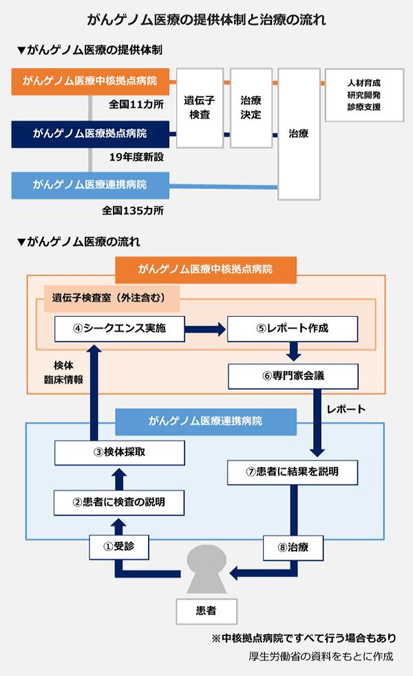 がんゲノム医療の提供体制と治療の流れの図。