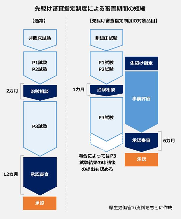先駆け審査指定制度による審査期間の短縮の図。