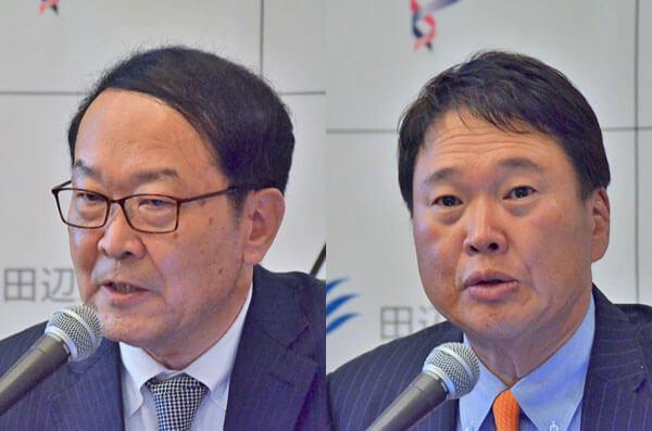 アンジェスの山田英社長(左)と、大阪大大学院の森下竜一教授