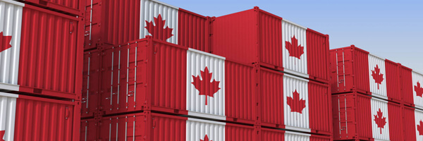 Container terminal full of containers with flag of Canada. Canadian export or import related 3D rendering