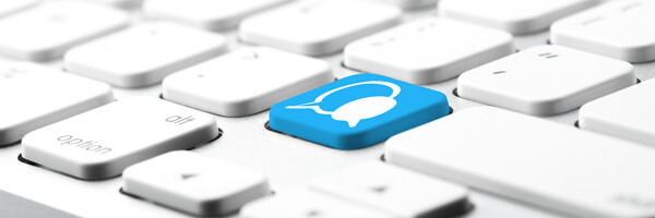 Social media icon on computer keyboard
