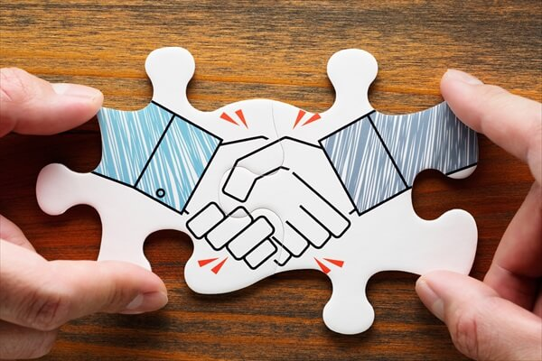 Concept image of business partnership and collaboration.